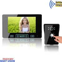 High-strength tempering glass 7 inch touch key video intercom door camera wireless