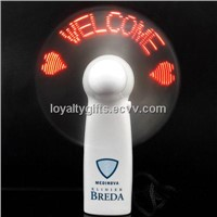 LED display flash message mini Fan with AAA battery