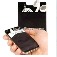 New 3m sticker silicone mobile phone pocket with screen cleaner
