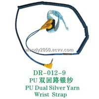 PU dual coiled cord wrist strap with 80 plies silver yarn