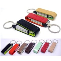 Promotional leather keychain  usb pen drive