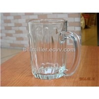 Stylish Carved Clear Glass Mug/Cup with Handle beer mug glass