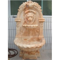 hand carved stone lion head  wall fountain