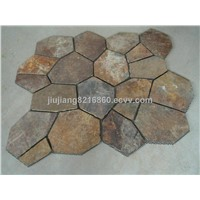 natural slate interlocking paving flagstone with mat flooring