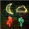 New USB Rechargeable Battery Neon Lamp Holiday Light Flamingo/Cactus/Moon/Cloud LED Night Light Home Festival Wedding Decor