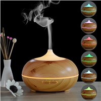 Wooden 300ml Aroma Essential Oil Diffuser With Multi-color Night light Bamboo Grain Ultrasonic Wood Air Humidifier With LED lamp