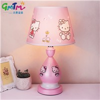 Hand-Painted Hardware Little Girl Pink kids room light Cartoon Table Lamp Children Hello Kitty Night Light Bedside Lamp Bedroom
