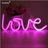 Tanbaby LOVE LED Neon Sign Tube Lamp Art LOVE Neon Light For Wedding Valentine's Day Decoration USB Powred , Battery Kiss Light