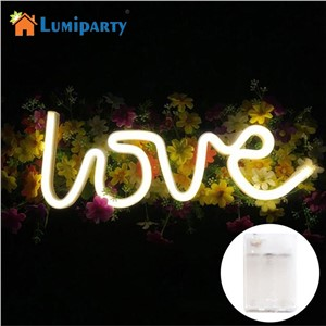 LumiParty LOVE Letters Shape LED Night Light Wall Hanging Neon Light for Festival Party Wedding Decor Lighting jk35