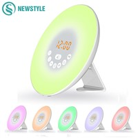 DC5V Sunrise LED Night Light Color Changing LED Alarm Clock With Digital Radio FM RGB Light For Novelty Bedroom Wake Up Lamp