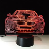 lampada led car 3D 7 Color Changing LED Luminaria Night Light 3D Lamp Bedroom Lighting for Girls Toy Gift