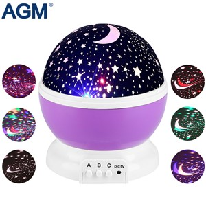 AGM Stars Starry Sky LED Night Light Star Projector Lamp Luminaria Moon Novelty Rotary Flashing Nightlight For Kid Children Baby