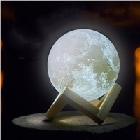 Night light 3D Print  Simple Moon Lamp Premium Rechargeable Novelty For Children Decor table lamp Touch Control Night Light
