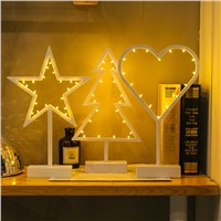 Creative Led NightlightPlastic Love Heart Star Christmas Tree lamp Luminous decorative Desk Table lamp Bedroom lights