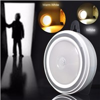 Smart Auto Body Sensor Motion 5 LED Night Light PIR Infrared Detector Lamp With Hook For AAA Battery