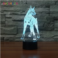 Dobermann 3D Table Lamp LED USB Dog Lights 7 Colors Kids Room Decorative 3D Lamp as Christmas Novelty Gift