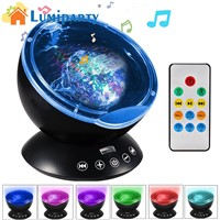 LumiParty LED Ocean Wave Music Projector Night Light 7 Color Changing Modes for Living Room and Bedroom with High Power Speaker
