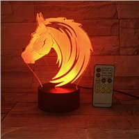 RC Remote Or Touch Control Horse Toys Novetly 7 Colors Animal Led Nightlights 3D LED Desk Table Lamp USB Lava Baby Bedside Lamp