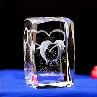 Dolphin  LASER ENGRAVED CRYSTAL night Light  with Light Base   Novelty LED table Lamps For Kids