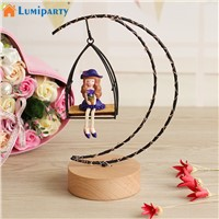 LumiParty Lovely Girls Moon Shape LED Desk Lamp Fairy Lights Bedroom Nightlights Resin Craft Toy Decoration Romantic Lighting