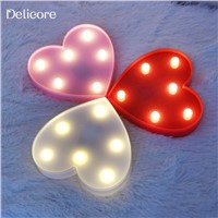 DELICORE Romantic Heart Night Lights 3D Marquee Letter LED Night Lamp Wedding Party Bedroom Decoration Kids Gifts S011-1