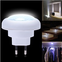 ABS plastic White Energy Saving LED Light Round 8 LED Body Motion Sensor Activated Small Night Light EU Plug Brand New