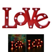 Romantic WALL Lamps Night Light 3D LOVE Marquee Sign Night Lights For Home Wedding Party Decoration Valentine Gift