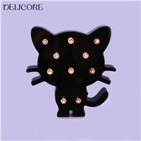 DELICORE Plastic Black Cat Night Lights Warm Light Bedside Lamp  For Baby Children Room Decoration S192