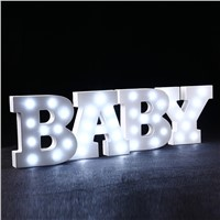 Hot ledertek White Wooden LED Alphabet Letter night Lights Wedding Birthday Party Decoration Wall Night Lights Holiday Home