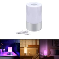 RGB Dimming LED Night Light Rechargeable Touch Sensor LED Atmosphere Lamp Intelligent Nightlight Smart Bedside Lamp+USB cable