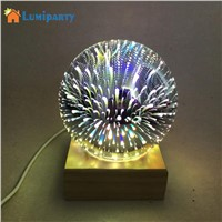 LumiParty 5V 3W Magic Crystal Ball Lamp USB Rechargeable Colorful Sphere Light with Base for Bedside Bedroom Home Decor
