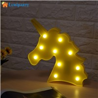 LumiParty Unicorn LED Night Light Decorative 3D Marquee Sign Lights for Bedroom Kids Room Lamp Lamps Lighting