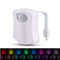 Smart Toilet Night Light LED Motion Auto Sensor Activated Bathroom With 8 Color Changing Battery Operated Washroom Night Lamp