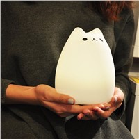 Silicone Cat Night Light Colorful Cute Cartoon Animal Changeable LED Table Lamps USB Rechargeable Rainbow Color Beside luminaria