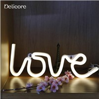 DELICORE Warm White Fairy Holiday Neon Night Light Love Shaped LED Lamp For Baby Bedroom Decoration Wedding Party Decor S190