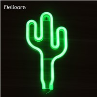 DELICORE New USB Battery Green Light Neon Lamp Holiday Light Cactus Shaped LED Night Light Home Festival Wedding Decor S197