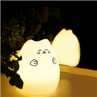 1 pc Night Lights USB Cat LED Children Animal Night Light Silicone Soft Cartoon Baby Nursery Lamp Variable color W315