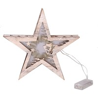 Retro Wooden Five Pointed Star Lamp Christmas Home Decorations 28CM Romantic