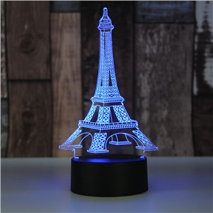 RGB 7-color changing 3D Palm & 3D Eiffel Tower Night Light LED touch switch Visual illusion atmosphere desklamp USB DC 5V
