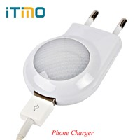 iTimo Mini LED Night Light USB Phone Charger EU Plug Wall Plate Socket Atmosphere Lamp For Bedrooms Bathrooms Children Kid Gifts