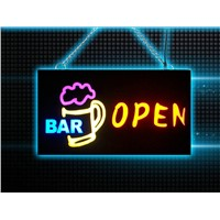 RBG Remote control advertising neon open bar sign