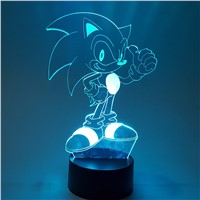 Sonic The Hedgehog Visual Illusion LED RGB Changing 3D Nightlight Sonic Action Figure 3D Novelty Light For Kids