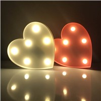 Romantic Marquee Light Heart Shap Led Night Light Battery Power Table Lamps For Valentine Birthday Gift Wedding Party Home Decor