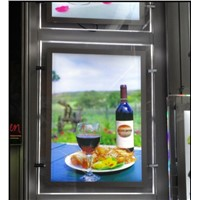 Restaurant Indoor A2 Size Led Menu Board Two Sides Crystal Light Boxes Hanging with Steel Cable