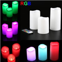 3 Pcs Electronic Candles With Timer LED Color Changing Remote Control Flameless Candle Home Wedding Decoration CLH@8