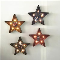 40CM Star LED Wall Lamp Iron Sheet Metal Drawing 3D Led Night Light Wall Ornaments Iron Rust Dry Battery Creative Bar Cafe Lamp