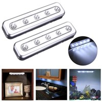 2PCS 5LED Cabinet Closet Wardrobe Push Tap Touch Night Light Lamp Stick On Battery Power Bright