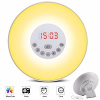 Wake-up Light Sunrise Alarm Clock LED FM Radio Bedside Night Lamp Touch Sensor Digital Time Display Desktop Beside Night Light