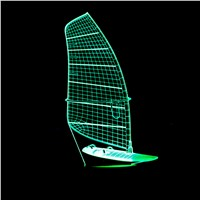 Sailing Boat Marine Ship Model 3D Night Light 7 Color Change LED Table Lamp Xmas Toy Gift