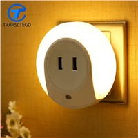 LED Light Control Censor Nightlight Dual USB Charger LED Wall Socket Nightlight Sensor Control Wall Lamp